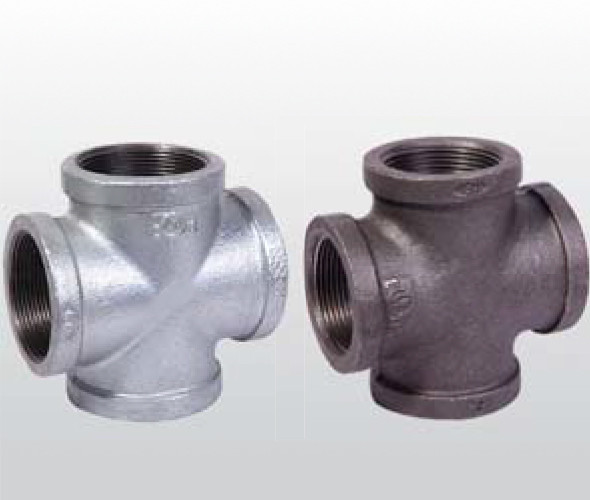 Weld Casting Iron 4 Way Pipe Fitting Cross For Plumbing Pipe Smooth Surface